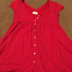 Red shirt with small hearts